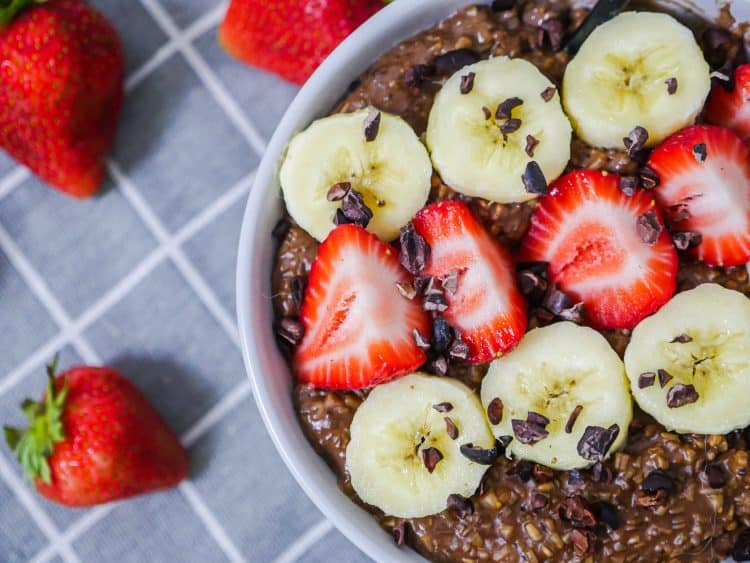 Healthy Chocolate Strawberry Banana Oatmeal Recipe