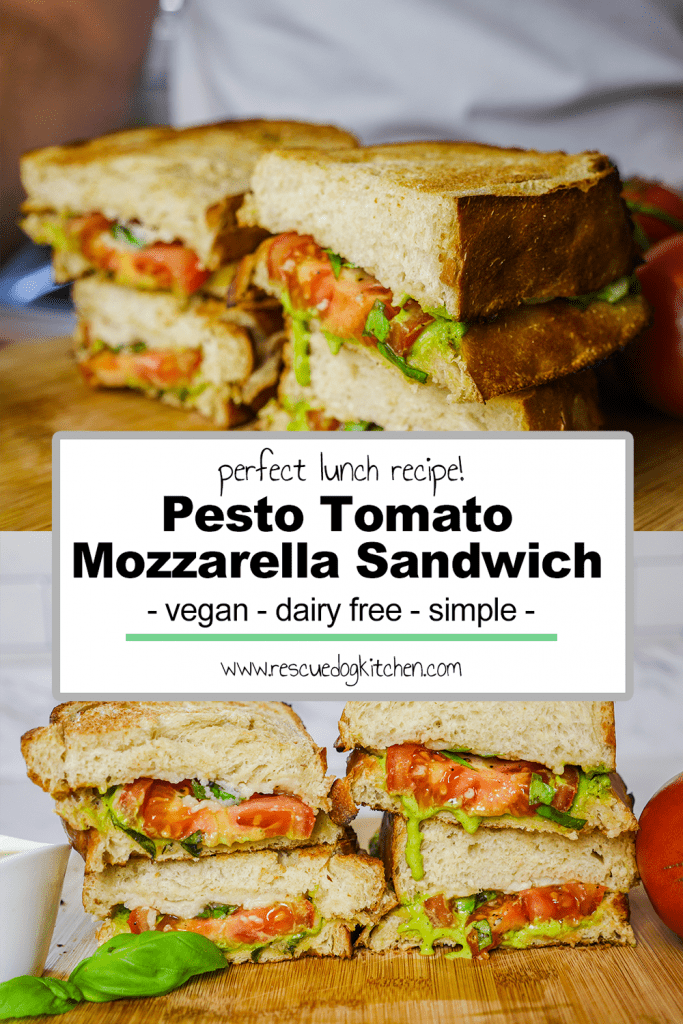 Tomato Pesto Mozzarella sandwich pinterest pin