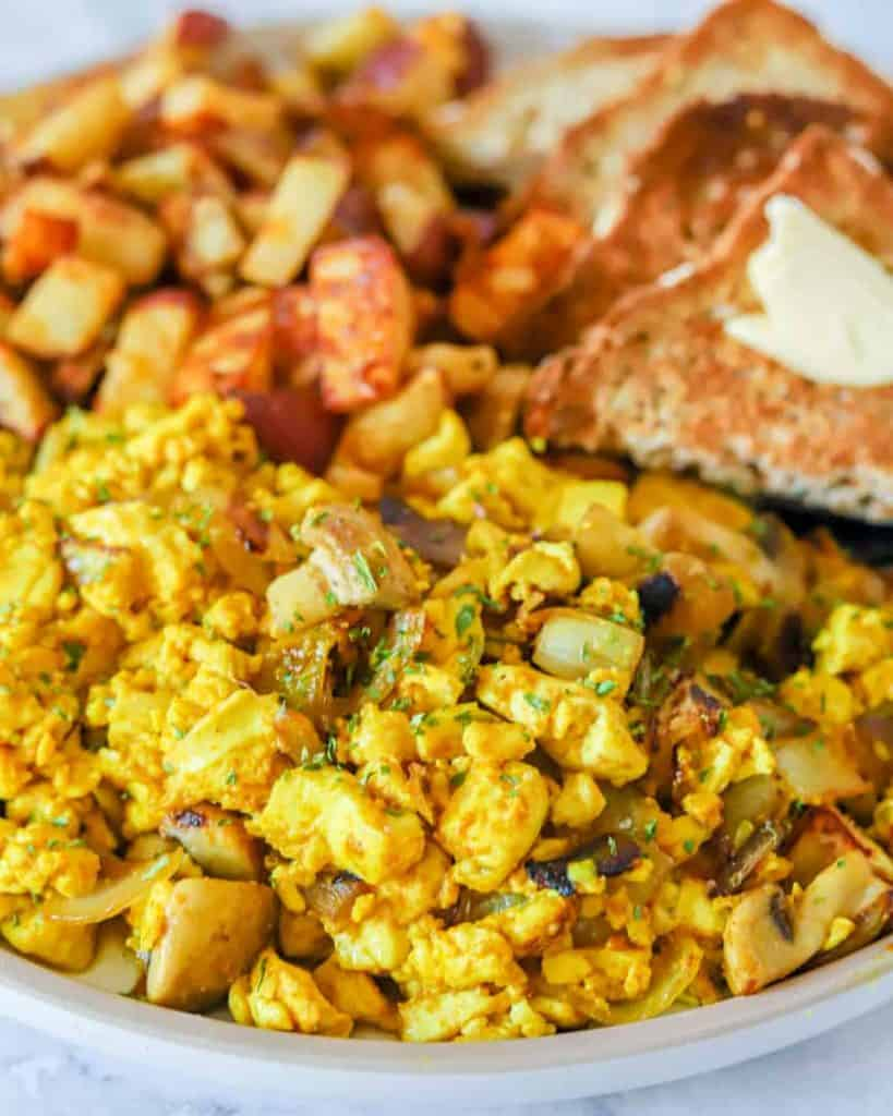 Silken tofu scrambled eggs